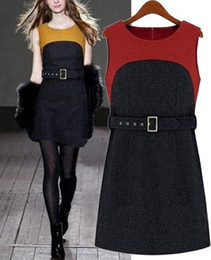 XXXL Plus size women Sleeveless Dress Yellow Red work wear Wish Sashes Belt Winter Woolen Fashion Clothing vestidos femininos