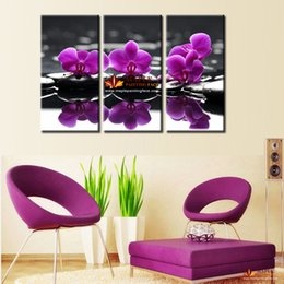 Hot Sell Decorative Panel Modern Wall Painting Purple orchid Home Decoration Flowers Art Picture Paint on Canvas Prints-modern wall canvas