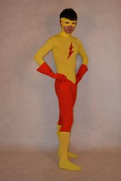 Kid Flash Spandex Superhero Costume Halloween Party Cosplay Zentai Suit