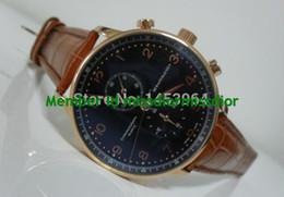 Wholesale Excellent Factory Supplier Sapphire Portuguese k Rose Gold Chronograph Black Dial Mens Men s Watch Watches