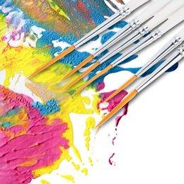 Wholesale 6pcs Professional Art Supplies Wooden Handle Paintbrush Nylon Hair Paint brush for Painting Pinceis Set Gouache Watercolor Brush H16416