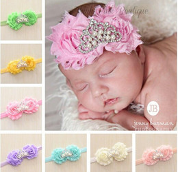Shabby flower Princess Crown headband Rhinestone Pearl Tiara baby head band newborn hairbows headbands 20pcs