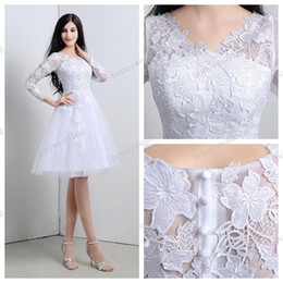 2016 Sheer Short Beach Wedding Dresses Cheap In Stock V-Neck Long Sleeves See Through Knee Length Lace Bridal Gowns Real Photo