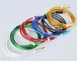 Wholesale braided metal audio AUX cable M mm male to male cable For Samsung iphone s ipad HTC mp3 Headphone Speaker