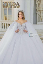 Crystal Romantic Ball Gown Wedding Dresses W1438 Long Empire Luxurious White Ivory Handmade Rhinestones Modern Princess Best Made Top