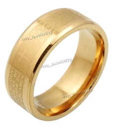 Wholesale 30pcs MM Stainless Steel jewelry English Golden Holy Bible Lord s Prayer Cross Ring Xams Gift