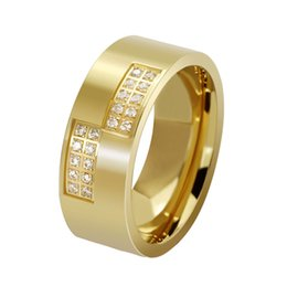 Titanium Steel Jewelry Cubic Zirconia Men Rings Fashion Finger Ring Gold 8mm Size 7-13