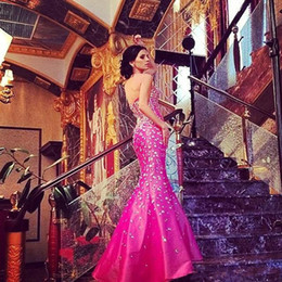 Crystal Beading Evening Dresses Mermaid Style Vestidos De Fiest Long Sparking pageant Dresses Sweep Train Hot Pink Sexy Prom Gowns 2015