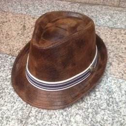 Wholesale-Wholesale women and men winter outdoor top quality striped ribbon fedora hats