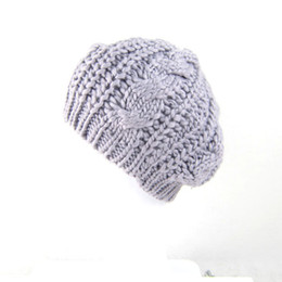 Wholesale-Wholesale 2015 New Fashion Women's Beret Lady Braided Baggy Beanie Crochet Warm Winter Hat Ski Cap Wool Knitted Touca