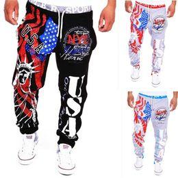 Wholesale-2016 new fashion men's casual trousers liberty image USA American flag printing man sports pants