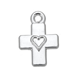 Free shipping New Fashion Easy to diy 30pcs cross heart religious charms jewelry making fit for necklace or bracelet