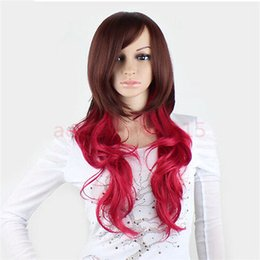 Wholesale gt gt New COS Long Hair Women Curly Full Wigs Colorant Match Wine Red Brown Party