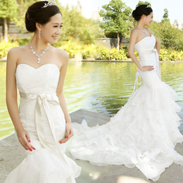 2015 New Fashionable Mermaid Sweetheart Lace organza Wedding Dress with Ruffles Custom Made Wedding Gown gelinlik