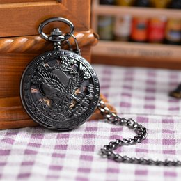 Wholesale Luxury Gift Antique Magic Roman Half Hunter Black Steel Hollow Skeleton Windup Mechanical Pocket Watch Long Chain Value Quality