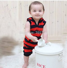 Wholesale-Baby Rompers Boy Sleeveless Stripe Summer Romper With Cap LTX31