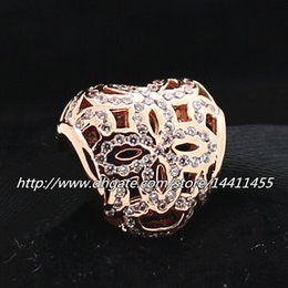 2015 Openwork Heart Charm 925 Sterling Silver & Rose Gold plated Bead with Cz Fits European Pandora Jewelry Bracelets & Necklaces Necklaces