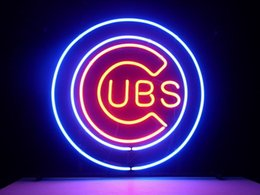 Wholesale ml b chicago cubs baseball real glsss tube neon sign display beer bar handicraft signs light CLUB store gameroom