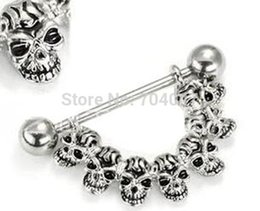 Wholesale-NO MOQ can mix design 316 surgical steel skull nipple ring body jewelry Y406