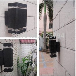Wholesale Black grey Shell Outdoor light up and down corridor wall lamp LED Porch aluminum Garden Lights waterproof IP65 w lamp