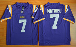 Cheap Honey Badger Jersey #7 LSU Tryann Mathieu Football Jerseys College Purple Embroidery Logo size S-XXXL Mixed Order