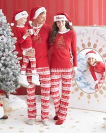 Family Pajamas Set Christmas Women Men Children Parent-child Cotton Letter Print Long Sleeve Sleepwear Nightwear Top with Pant DK0547BK