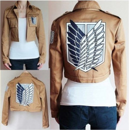 Wholesale Attack on Titan Jacket Mikasa Ackerman Costumes Eren Yeager Coat Armin Arlert Clothes Cosplay Scouting Legion Anime COS004