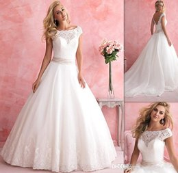 Wholesale 2015 Princess Cap Sleeves Sheer Wedding Dresses White Lace And Tulle Covered Buttons Bridal Gowns Australian Bride Dress Country Western