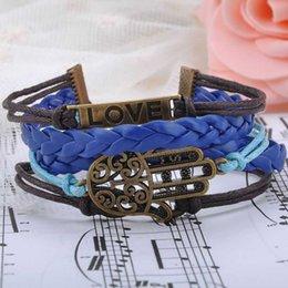 Hamsa Jewelry Vintage Braided Anchors Rudder Metal Leather Bracelet Multilayer Rope Bracelets Wrap Bracelet Bangle Y60*MHM013#M5