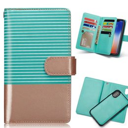 Striped Multifunctional Detachable 9 Cards Wallet Pu Leather Case For iPhone 6 6s 7 8 iPhoneX X Stand Magnetic Back Cover Kickstand