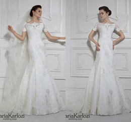 Wholesale Allure Mermaid Wedding Dress Scoop Lace Backless Chapel Train Bridal Gowns Sexy Daria Karlozi Design