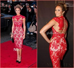 Wholesale 2016 Sexy Short Cocktail Prom Dresses Lace High Sheer Neck Sheath Knee Length Cap Sleeves Illusion Back Celebrity Red Party Dresses