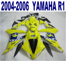 Injection molding free shipping ABS fairing kit for YAMAHA 2004-2006 YZF R1 yzf-r1 04 05 06 yellow blue CAMEL plastic fairings set PQ93