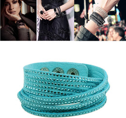 Crystal Fashion Slake Wrap Leather Bracelet For Women Candy Color Friendship Leather Bracelets With Bling Rhinestone ZQ