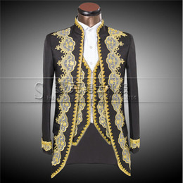 2016 New Luxury Embroidery Costumes Wedding Suit For Men Groom Classic Double Breasted Suits Slim Fit Black Tuxedo Jacket Pants
