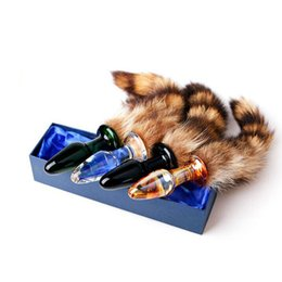 New High Quality Fox Tail Glass Anal Plugs Butt Insert Jewelry Adult BDSM Dog Slave SM Sex Toys