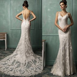 Wholesale Backless Wedding Dresses Amelia Sposa Ivory Lace Mermaid Trumpet Style Spaghetti Straps Designs Bridal Gowns Fashion Alternative