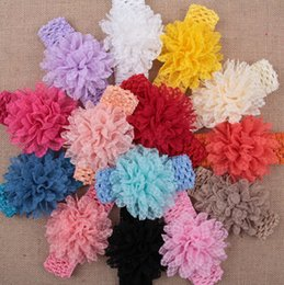 Wholesale 50 baby Headwear Head Flower Hair Accessories inch Chiffon flower with soft Elastic crochet headbands stretchy hair band Lace Rosette