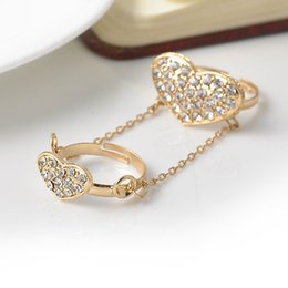 Fashion Women Heart Rhinestone Setting Chain Rings Tassels Ring Bride Wedding Finger Rings Free Shipping