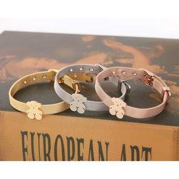 Wholesale Cute Cuffs - Mesh strap Stainless steel jewelry women little bear bracelet cute bear chain tousingly bracelets adjustable gold and rose gold