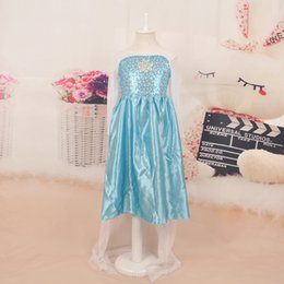 2015 New Elsa Princess Girl Dresses Blue Elsa Dresses With White Lace Wape Girls Frozen Fever Anna Dresses kids girl pageant dress(1701001)