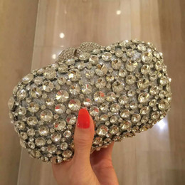 Wholesale Silver Luxury Evening Bags Purses Ladies Handbags Crystal Bridesmaid Clutches Mini Party Hand Bags Womans Clutch With Chain