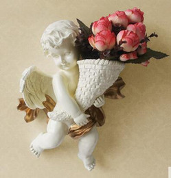 Europeanism environment-protective resin angel wall-mounted silk flower vase three branch of artificial flower fashion home decorations