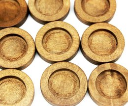 Wholesale 250pcs natural wood settings tray size mm wood bezel blanks new choice for pendant Antique Round Wooden Cameo