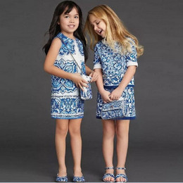 Wholesale 2016 Spring Luxury Big Girls Jacquard Dress China Blue Art Sleeveless Cotton Children Clothing Kids Dresses K6359