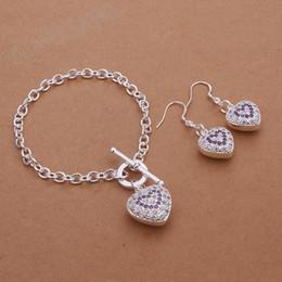 Wholesale fashion jewelry sterling silver heart shaped bracelet exquisite purple pierced earrings two sets
