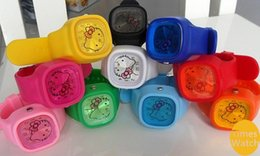 Wholesale silicone hello kitty children colorful jelly watch 10 colors available Top quality.Low price. Hot sale
