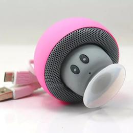 Wholesale Creative cartoon small mushroom head sucker mini portable bluetooth speaker phone tablet bracket outdoor small acoustics DHL free