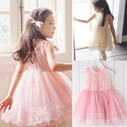 Summer Girls Lace Patchwork Tulle Tutu Dresses Baby Ball Gown Dress High Quality Kids Elegant Sleeveless Lace Princess Dress Pink 10773