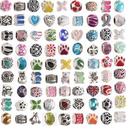 Mix Colors Metal Drop Oil Big Hole Loose Beads charm For Pandora DIY Jewelry Bracelet For European Bracelets mx03